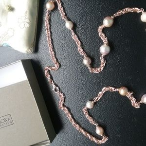 """Ming Cultured Pearl 36"""" Oval Link Bronze Necklace"""